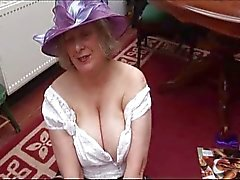 Granny shows off hairy pussy