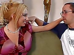 Busty blonde milf whore nasty cock riding session on couch