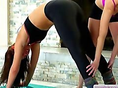 Teen Aidra Fox make out with her yoga teacher Shyla Jennings