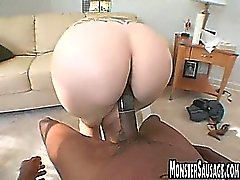 Curvy blonde with big tits sucks and fucks a big cock