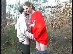 teen sucks boyfriend in forest