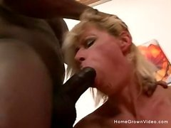 Mature blonde gets a BBC up her ass