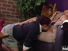 Two girls get to please each other