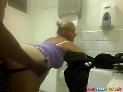Blonde Slut Fucks Black Dude in a Public Toilet