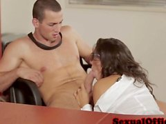 Gorgeous secretary banging her lucky boss