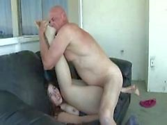 Big Ass Babe Banged On Couch by Old Man