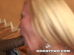 Blonde Babe with big tits take black monster cock in mouth