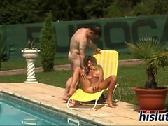 Young blonde gets nailed by the pool