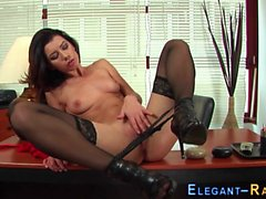 Classy office babe solo