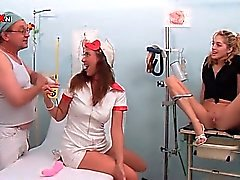 Hot nurse and patient blowing doctors cock for hot piss