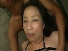 Stacked Japanese milf in a fishnet bodysuit get drilled wit