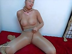 Lustful pantyhose clad masturbation