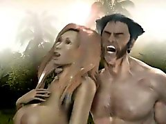 Wolverine 3D animation fucked from behind in the outdoor