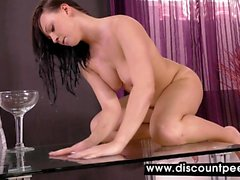 Thong-clad babe loves playing around in piss