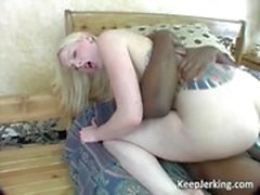 Slutty blonde whore sucks fat black