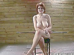 BDSM big tits redhead deep throat fucked in dungeon