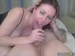 Hot MILF gives blowjob to big cock