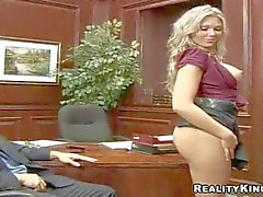 mature tattooed secretary has regular oral session with her boss