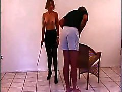 Mistress caning slave
