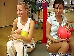 Cindy and Amber pounding each other in the gym