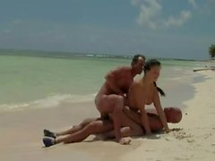 A beach threesome