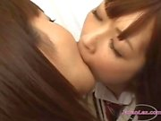 2 Schoolgirls Kissing Sucking Tongues One Of Them Getting Her Pussy Licked On The Bed In The Bedroo