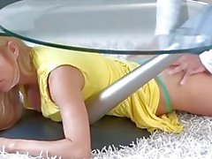 Step mom Alexis Fawx stuck and fucked under the table