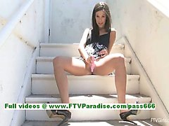 Brooke tender brunette babe toying her pussy on the stairs