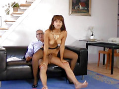 Highheeled spanish angel pounded on bed