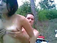 Teen couple fuck outdoors