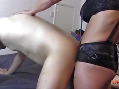 Femdom fucks gimp ass with toy as he wanks cock to cum