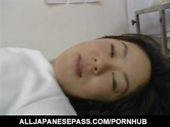 Rie Takasaka has hairy slit fucked with vibrator at medical check