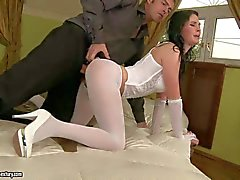 Hot ass Alma Blue in ripped pantyhose gets rammed hard