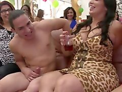 Bday partygirls munching on stripper cock