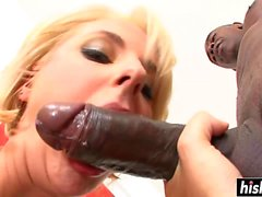 Blonde babe has fun with a black cock