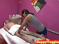 Asian masseuse queens client during threeway