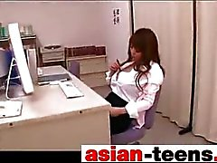 Asian giant tits masturbates in office