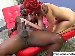 Redhead sucking black monster cock