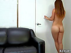 Sexy bodied newbie April McAdams gets naked and plays with dildo