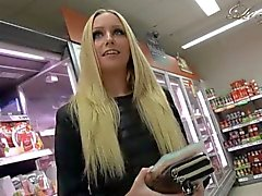 Blonde babe grocery shopping fun