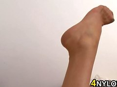 MILF Wearing Nylons Strips Down And Fingers
