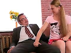 Augustina sucks her teachers cock and he explodes with cum