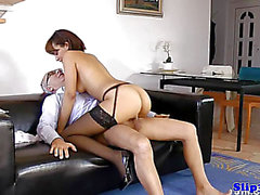 Stylish eurobabe drools all over old mans jock
