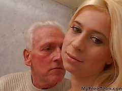 Blonde Girl And Old Man