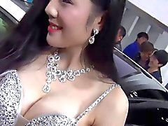 Chinese car show girl nipple slip
