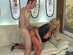 Mother I'd Like To Fuck gal in a satin blouse and fishnets copulates his large shlong