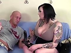 Tattooed babe sucks her dudes boner