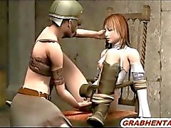 Chained 3d hentai swordwoman gets fingered her pussy