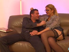 La Cochonne - Hot amateur French babe gets sandwiched in hardcore threesome