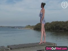 Girls Out West - Outdoor dildo masturbation